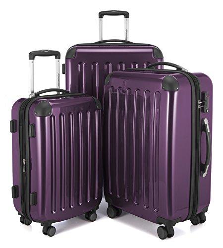 HAUPTSTADTKOFFER - Alex - 3er Koffer-Set Trolley-Set Rollkoffer Reisekoffer Erweiterbar, 4 Rollen, TSA, (S, M & L), Aubergine