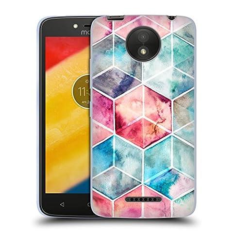 Offizielle Micklyn Le Feuvre Hexagon Kuben Muster 6 Soft Gel Hülle für Motorola Moto C Plus