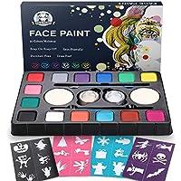 Dookey Kinderschminke Set , Hochwertiges 14 Schminkfarben Face Paint mit 24 Malerschablonen,Wasserbasiert und Ungiftig, Ideal für Kinder Partys & Fasching & Halloween