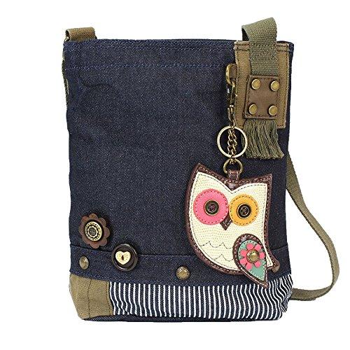 CHALA Damen Handtasche/Messenger Bag, Jeansstoff, Blau, (Owl Denim), Einheitsgröße (Bags Owl Messenger)