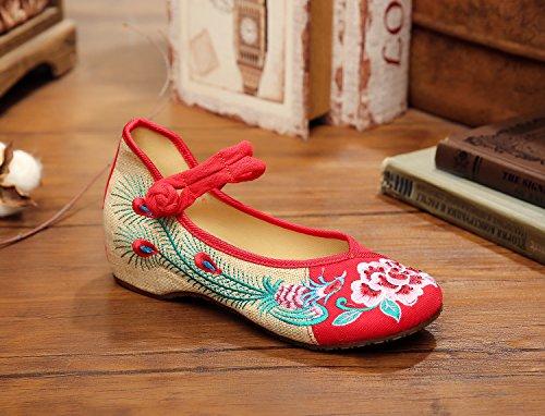 DESY scarpe ricamate di fiori di peonia, biancheria, suola tendine, stile etnico, scarpe femminili, di moda, comodo Red