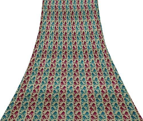 Svasti belwari Jamdani Vintage Sari Refurbished Mittelblau 100% reine Seide gedruckt Craft Stoff 1 Yard -