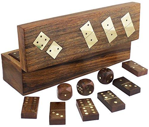 Domino legno fatti a mano set e cinque dadi in scatola di immagazzinaggio gioco -20,3 x 5,6 x 6,1 centimetri