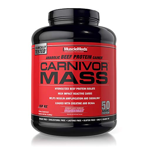 SPORTS NUTRITION SOURCE Musclemeds Carnivor Mass Anabolic 100% Rindfleisch Eiweiß Isolat Pulver Gainer Strawberry, 1er Pack (1 x 2721 g) -