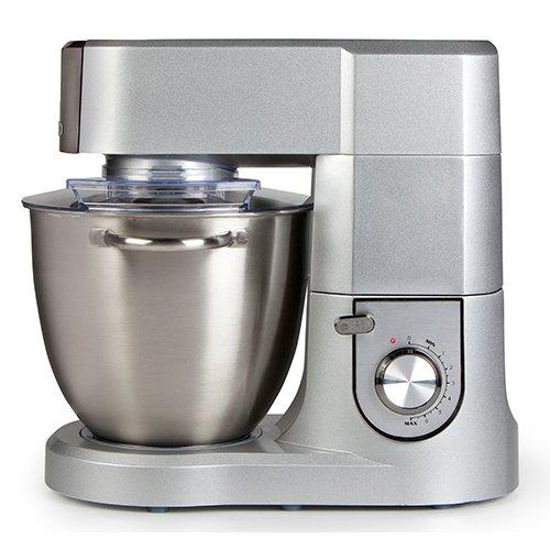 Küchenmaschine mit 6,7 Liter Schale aus gebürstetem Edelstahl, inklusive Knethaken, Rührbesen, Schneebesen mit variabler Drehzahlregelung und Pulsfunktion, silber Domo DO9079KR