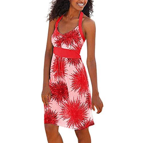 Binggong Sommerkleid Blumenkleid Damen Sexy Ärmellos Neckholder Knielang Party Kleid Strandkleid Lose Minikleid Frauenkleid (Kaufen Furry Kostüm)
