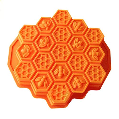 SULUO 1 Pcs DIY Bee Honeycomb Cakes Molds Silicone Mold Fondant Cake Chocolate Soap Candy Biscuit Sugar Mold Baking Kitchen Accessories,Orange