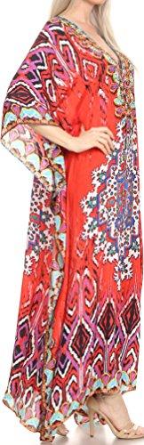 Sakkas Georgettina Flowy Strass V-Ausschnitt, langen Kaftan Kleid / Vertuschung Rot Blau