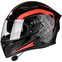 Casco de moto con Bluetooth, casco de seguridad, 2viseras abatibles, casco para adulto, A
