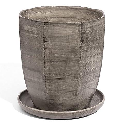 Pot de fleur ceramique Octogone avec support soucoupe en couleur de beton hauteur 25 cm