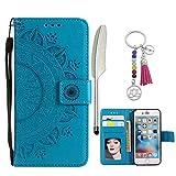 LA-Otter Apple iPhone 5 5S SE Hülle Leder Mandala Tasche Handyhüllen Lederhülle Ledertasche mit Kartenfach Schutzhülle Flip Case Klapphülle - Blau