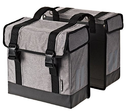Basil Route Double Pannier Bag – Grey Marl – 38 x 18 x 33 cm (45 Litres 17524