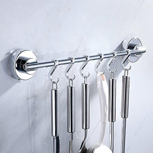 Portautensili da cucina in acciaio inox, con 6ganci vuoto ventosa supporto da parete per bagno tovagliolo vestiti robe hat holder tool