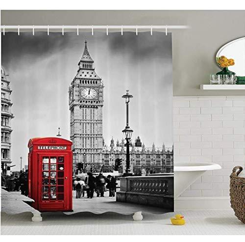 Yiciyici London-Duschvorhang-Berühmte Telefonzelle Und Der Big Ben In England-Straßen-Ansicht-Symbolen des Stadtretrostoff-Badezimmers-180(H) X180(W)