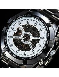 Relojes Hermosos, Los hombres mecánicos automáticos de la caja del reloj dodecágono taquímetro de línea hueca reloj de pulsera de acero inoxidable ( Color : Blanco , Talla : Una Talla )
