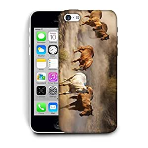 Snoogg Running Horses Designer Protective Phone Back Case Cover For Apple Iphone 5C