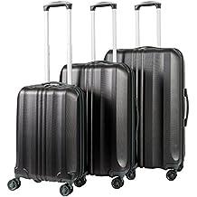 Pack.It Equipajes de Viaje, Juego de 3 Maletas Rígidas y Ligeras, 4 Ruedas de Multidirección, Negro