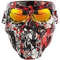 Garneck Protector Facial UV Multiusos Polaina de Cuello Pasamontañas Cubierta Facial Elástica Y Gafas de Seguridad para Hombres Y Mujeres Lente Roja