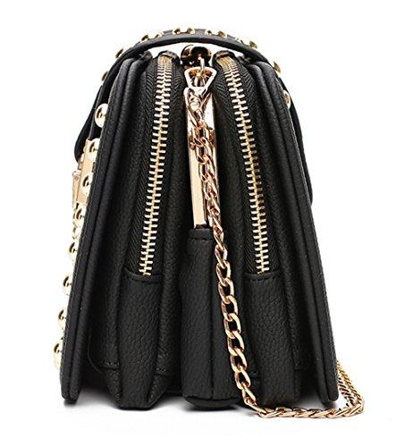Xinmaoyuan Borse donna catena morsetto ricamato borsa tracolla selvatici pacchetto diagonale,Nero Nero
