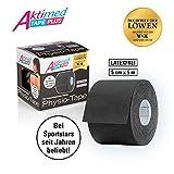 Aktimed Tape plus - Physio-Tapes Mit Pflanzlichen Extrakten - Schwarz | Lifting & Massage Für Die Haut | Kinesiologisches Tape Mit Speziellem Klebstoff | Atmungsaktiv | Latexfrei | 5 Cm X 5 M