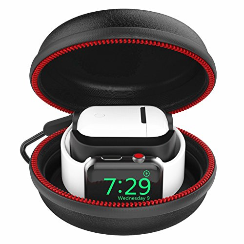 Moretek Funda de Transporte Base de Carga para Airpods, Apple Watch, 1 2 3 4,2 en 1 Estación de Acoplamiento para Apple Airpods (New Black)