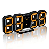 samLIKE wecker, LED Tisch Schreibtisch Nacht Wanduhr Wecker 24 oder 12 Stunden Anzeige (Schwarz)