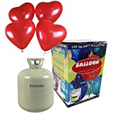 Helium - Marken Ballongas PASAMO inklusive 30 rote Herz Ballons und Ballonband – 0,25 m³ Einwegflasche z.B. für ca 30 Luftballons als witziger Partyspaß - Partyzubehör – Flasche reicht für viele Ballons !