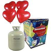 Helium - Marken Ballongas PASAMO inklusive 50 rote Herz Ballons und Ballonband – 0,42 m³ Einwegflasche z.B. für ca 50 Luftballons als witziger Partyspaß - Partyzubehör – Flasche reicht für viele Ballons !