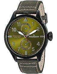 Reloj de hombre de piel de color negro y plateado de Nylon verde de día de un calendario de la fecha en que el reloj de aviador