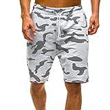 Pantalones Hombre,LMMVPPantalones cortos de los hombres de los deportes del trabajo ocasional del ejército del cargo pantalones cortos (M, Blanco)