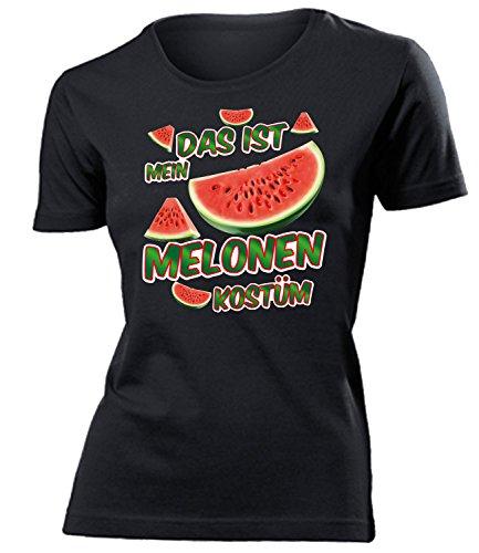Melonen Kostüm Kleidung 4981 Damen T-Shirt Frauen Karneval Fasching Faschingskostüm Karnevalskostüm Paarkostüm Gruppenkostüm Schwarz XL (Kostüme Melone Mit)