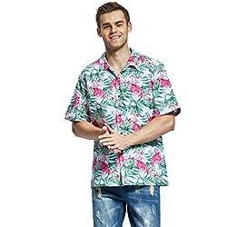 Hawaii Hangover - Camisa Hawaiana para Hombre, diseño de Flamenco - Blanco - Small