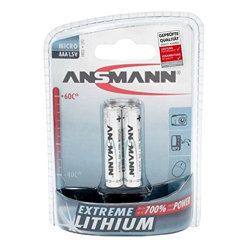 ANSMANN Extreme Lithium Batterie AAA Micro 2er Pack - 1,5V, LR3 - hohe Kapazität, extrem leich, 700% mehr Power