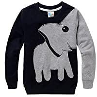 COCM10 Little Boys Jumpers Kids Elephant Sweaters Sweatshirt Pullover Clothing Shirts Casual Tops Cotton Tee Age 2 3 4 5 6 7