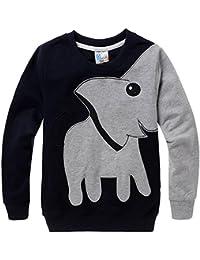 Little Hand T Shirt Enfant Garçon Sweat Shirt Manche Longue Éléphant Animaux Cartoon Chemise Col rond Noir 2 3 4 5 6 7 ans