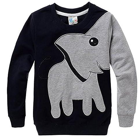 Kkia Mädchen Jungen Print Elephant Top Baumwolle Sweatshirt Round Neck Langarmshirt 1-6 Jahren (92/98(18-24 Monate), Schwarz