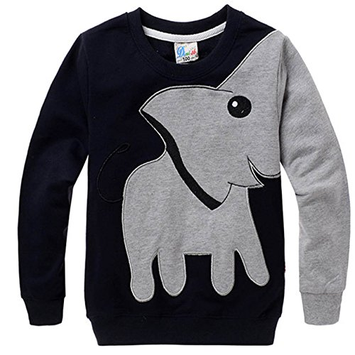 Little Sorrel Sudaderas Niños de Mangas Largas Cartoon Elephant Sweatshirt Camiseta Tops