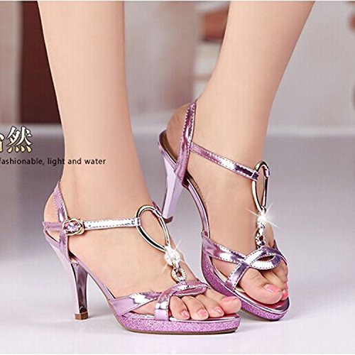Tacco-Leather Sandals femminile dia tacco Belle High Heel Violet