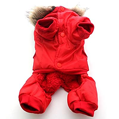 Winter Dog Coat Jacket Usa Air Force Pet Hoody Clothes For Small Warm Puppy Medium Pet 4-Pin Jumpsuit Hooded Air-Force Trench Snowsuit Sweatshirts Doggie Apparel Outfits Red Windproof Coats