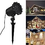GreenClick Led Lichteffekt,IP65 Projektor Garten Innen/Außen,6 Arten Schneeflocken Projektionslampe,Gartenleuchte Projektor,Mauer Dekoration,Party Licht,Garten Beleuchtung für Weihnachten,Karneval