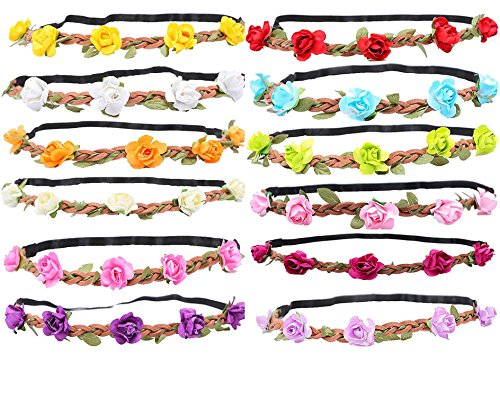 WTB Girls Flower Fairy Bohemian Braid Wedding Beach Tiara Crown hair headband (12pcs mixed color)