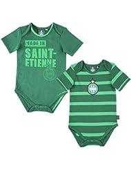 Lot de 2 bodies ASSE - Collection officielle AS SAINT ETIENNE - Taille bébé garçon