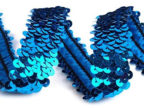 Stoffe-Online-Shop Stretch-Pailletten, Paillettenband, Paillettenborte elastisch, breite 30mm, Verkaufseinheit: 1m (blau) -