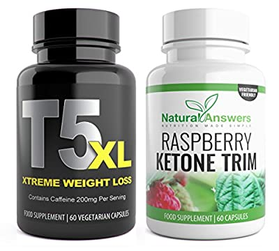 T5 XL + Raspberry Ketone Trim Biofit 120 Capsules fat burner weight loss for men and women max strength by Natural Answers