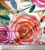 Soimoi Weiß Seide Stoff Blätter & Rose Blume Stoff
