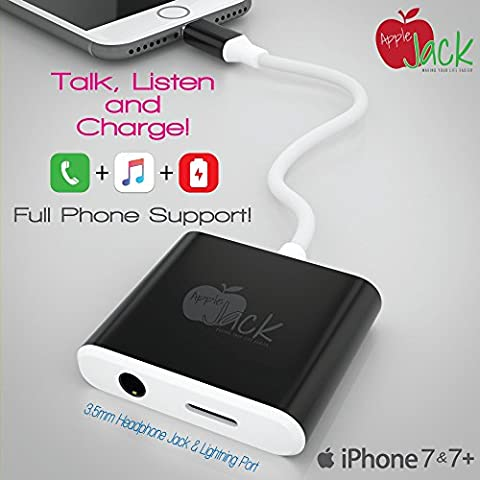 iPhone 7et 7Plus Adaptateur de câble Lightning + Port Audio Stéréo de 3,5mm répartiteur par Apple Jack Recharger votre téléphone et écouter de la musique. Boutons casque et microphone intégré prise en charge. Protégez votre casque