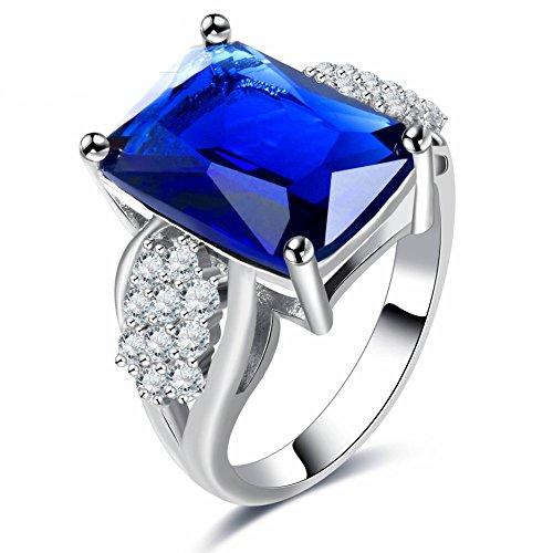 HOX Hypoallergen Mode-Trend Saphir Blau Platin Ring Klassischen Schmuck Ring Weiblichen Schmuck, Blau, 9 (Platin-blau Saphir-ring)