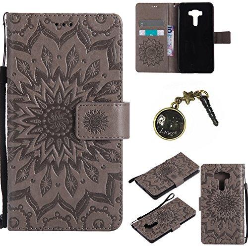 Preisvergleich Produktbild für Asus ZenFone 3 (ZE552KL) Hülle,Hochwertige Kunst-Leder-Hülle mit Magnetverschluss Flip Cover Tasche Leder [Kartenfächer] Schutzhülle Lederbrieftasche Executive Design +Staubstecker (4GG)