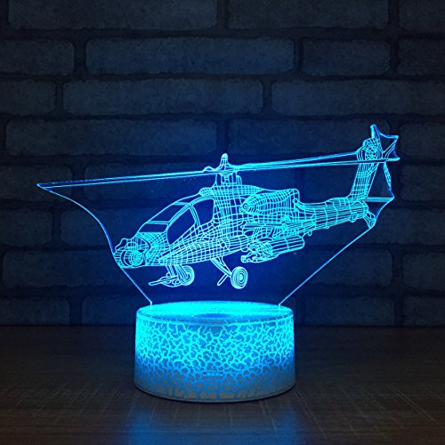 Leisurely Lazy New Helicopter Shape 3D Optical Illusion Lamp 7 Colors Change Touch Button and 20 Keys Remote Controller LED Table Desk Lamp for Home Bedroom Decoration