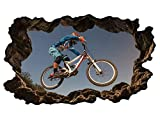 3D Wandtattoo Sport Radfahren Radfahrer Fahrrad Sportart Radsport BMX Downhill Mountainbiking Sprung Wand Aufkleber Wanddurchbruch sticker selbstklebend Wandbild Wandsticker Wohnzimmer 11P576, Wandbild Größe F:ca. 140cmx82cm